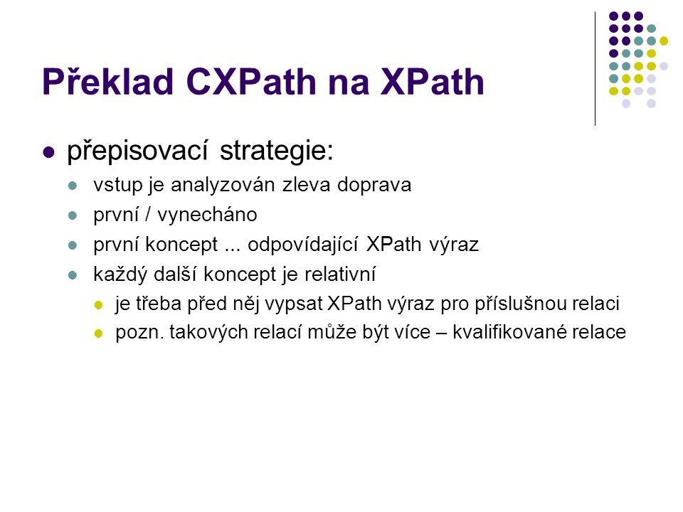Překlad CXPath na XPath přepisovací strategie: vstup je analyzován zleva doprava první / vynecháno první koncept... odpovídající XPath výraz každý dal