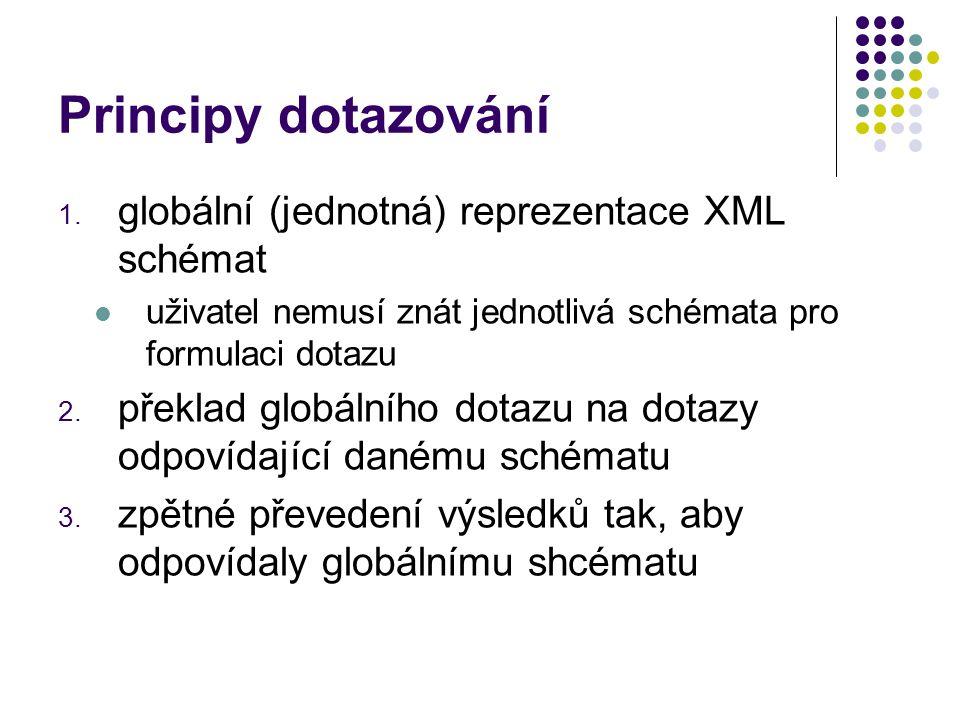 Principy dotazování 1. globální (jednotná) reprezentace XML schémat uživatel nemusí znát jednotlivá schémata pro formulaci dotazu 2. překlad globálníh