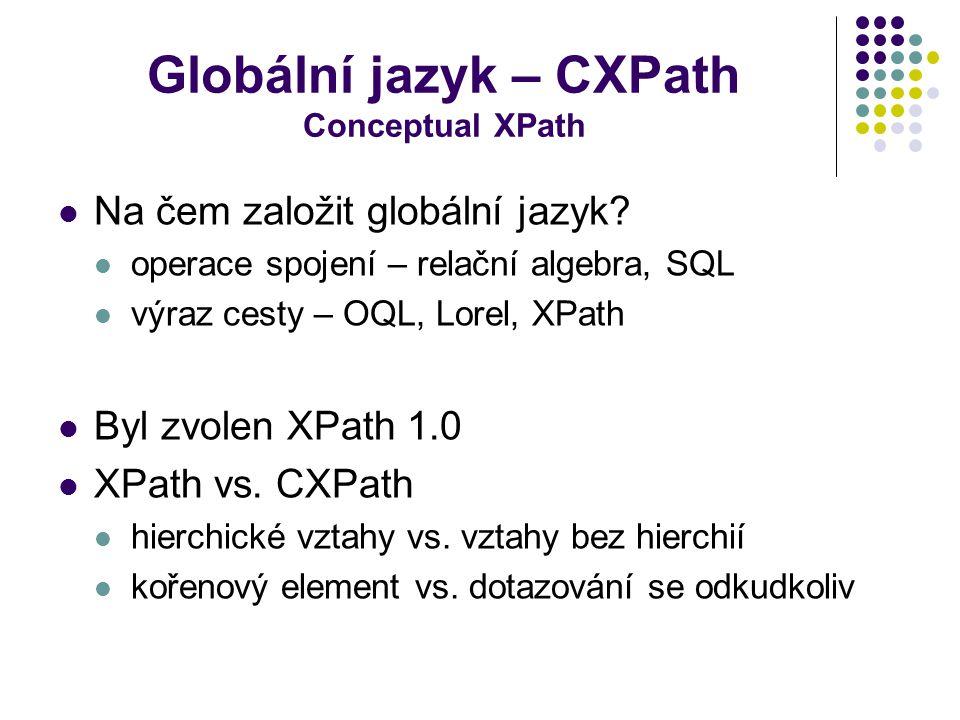 Globální jazyk – CXPath Conceptual XPath Na čem založit globální jazyk? operace spojení – relační algebra, SQL výraz cesty – OQL, Lorel, XPath Byl zvo
