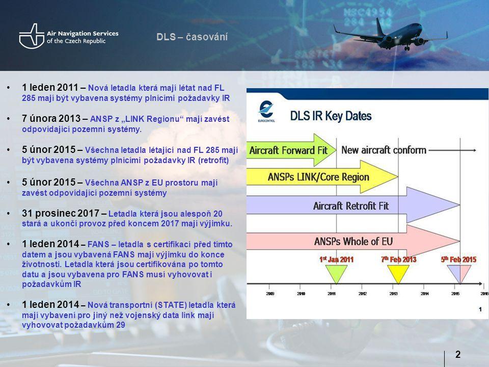"""DLS – časování 2 1 leden 2011 – Nová letadla která mají létat nad FL 285 mají být vybavena systémy plnícími požadavky IR 7 února 2013 – ANSP z """"LINK R"""