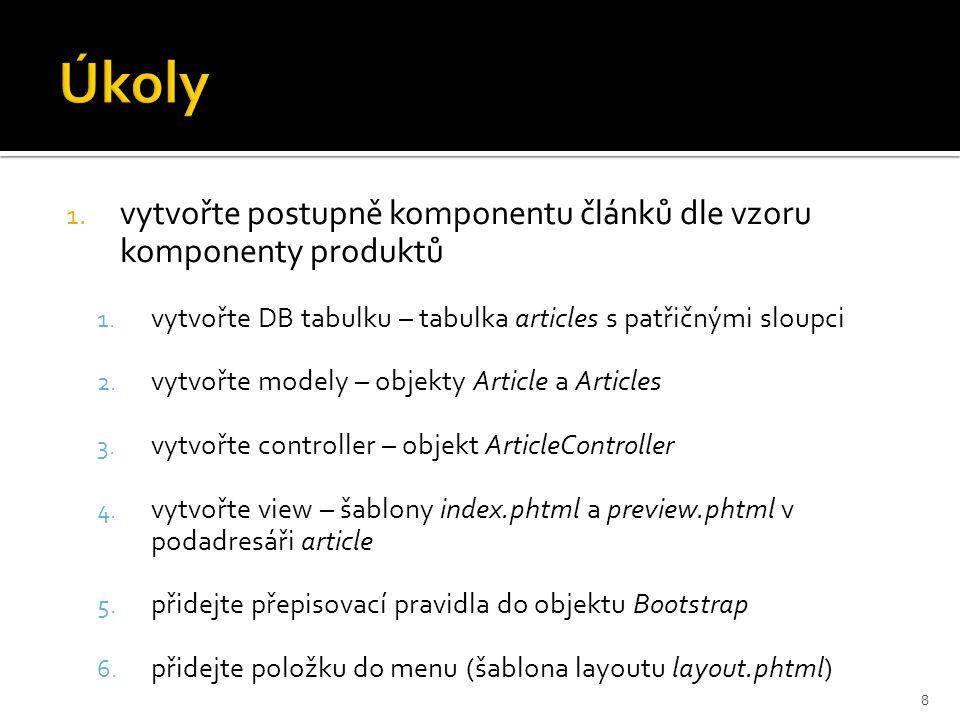1. vytvořte postupně komponentu článků dle vzoru komponenty produktů 1. vytvořte DB tabulku – tabulka articles s patřičnými sloupci 2. vytvořte modely