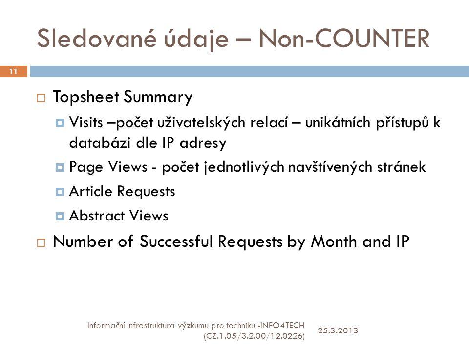 Sledované údaje – Non-COUNTER 25.3.2013 Informační infrastruktura výzkumu pro techniku -INFO4TECH (CZ.1.05/3.2.00/12.0226) 11  Topsheet Summary  Visits –počet uživatelských relací – unikátních přístupů k databázi dle IP adresy  Page Views - počet jednotlivých navštívených stránek  Article Requests  Abstract Views  Number of Successful Requests by Month and IP
