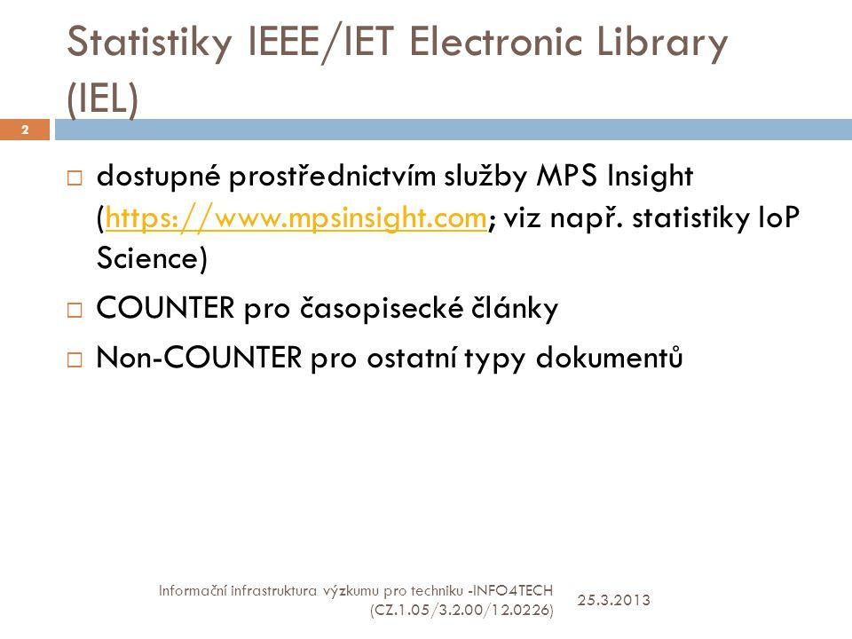 Statistiky IEEE/IET Electronic Library (IEL) 25.3.2013 Informační infrastruktura výzkumu pro techniku -INFO4TECH (CZ.1.05/3.2.00/12.0226) 2  dostupné prostřednictvím služby MPS Insight (https://www.mpsinsight.com; viz např.