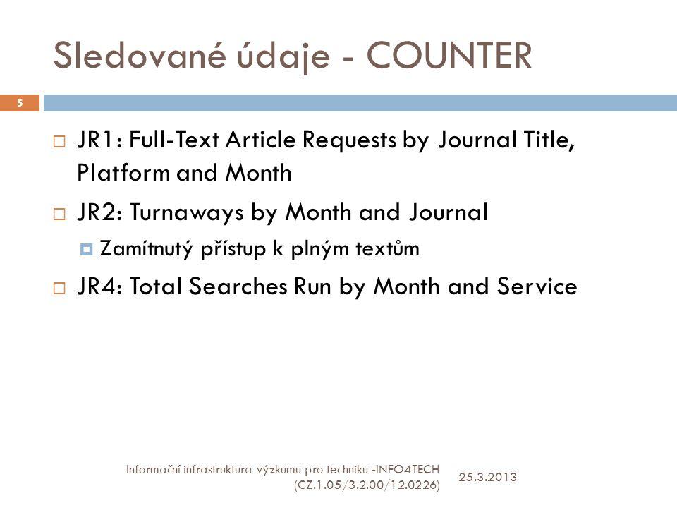 Sledované údaje - COUNTER 25.3.2013 Informační infrastruktura výzkumu pro techniku -INFO4TECH (CZ.1.05/3.2.00/12.0226) 5  JR1: Full-Text Article Requests by Journal Title, Platform and Month  JR2: Turnaways by Month and Journal  Zamítnutý přístup k plným textům  JR4: Total Searches Run by Month and Service