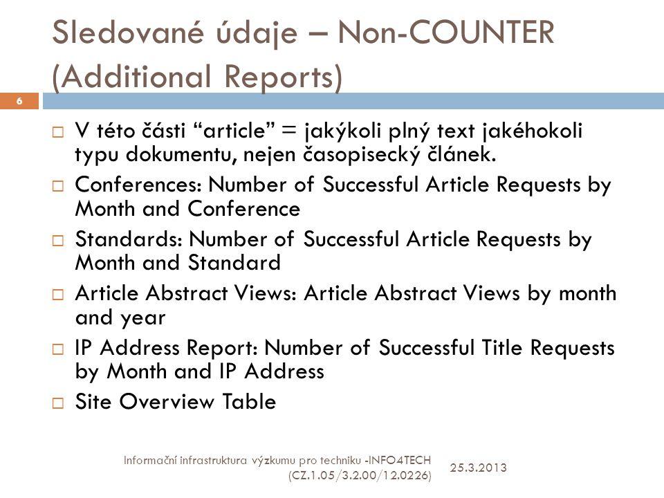 Sledované údaje – Non-COUNTER (Additional Reports) 25.3.2013 Informační infrastruktura výzkumu pro techniku -INFO4TECH (CZ.1.05/3.2.00/12.0226) 6  V této části article = jakýkoli plný text jakéhokoli typu dokumentu, nejen časopisecký článek.