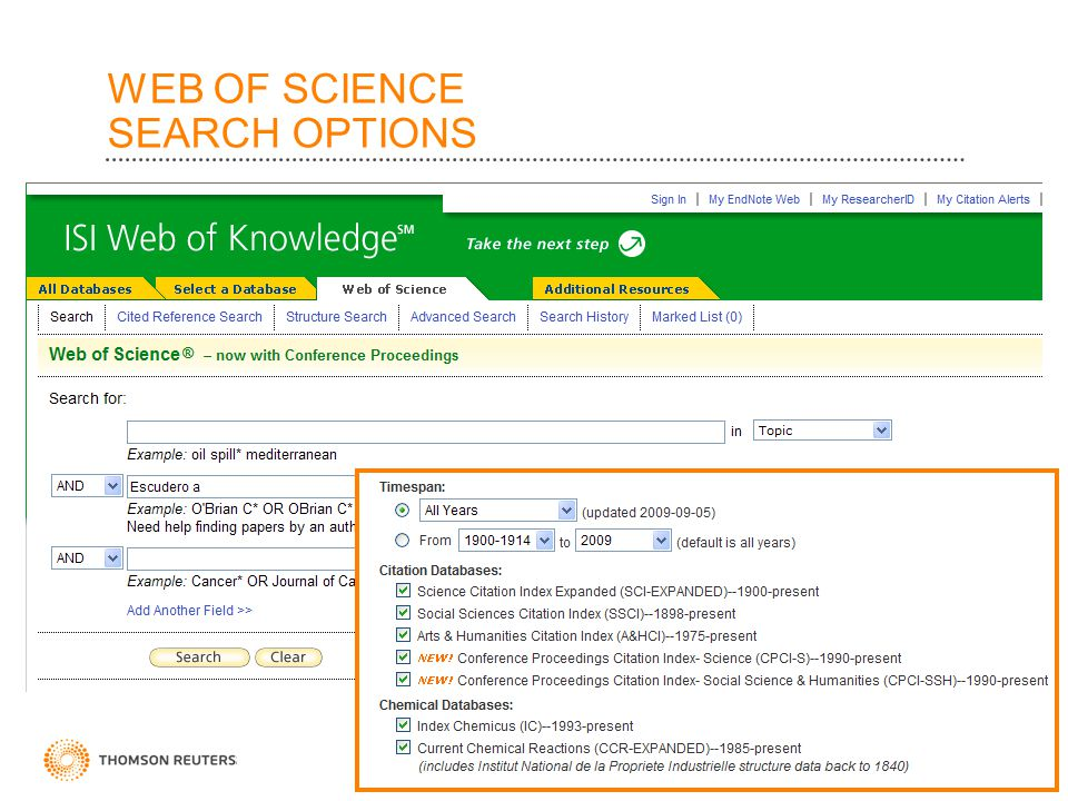 WEB OF SCIENCE SEARCH OPTIONS 20
