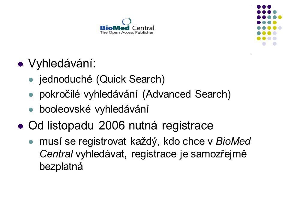 Vyhledávání: jednoduché (Quick Search) pokročilé vyhledávání (Advanced Search) booleovské vyhledávání Od listopadu 2006 nutná registrace musí se registrovat každý, kdo chce v BioMed Central vyhledávat, registrace je samozřejmě bezplatná