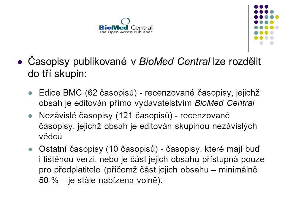 Časopisy publikované v BioMed Central lze rozdělit do tří skupin: Edice BMC (62 časopisů) - recenzované časopisy, jejichž obsah je editován přímo vydavatelstvím BioMed Central Nezávislé časopisy (121 časopisů) - recenzované časopisy, jejichž obsah je editován skupinou nezávislých vědců Ostatní časopisy (10 časopisů) - časopisy, které mají buď i tištěnou verzi, nebo je část jejich obsahu přístupná pouze pro předplatitele (přičemž část jejich obsahu – minimálně 50 % – je stále nabízena volně).