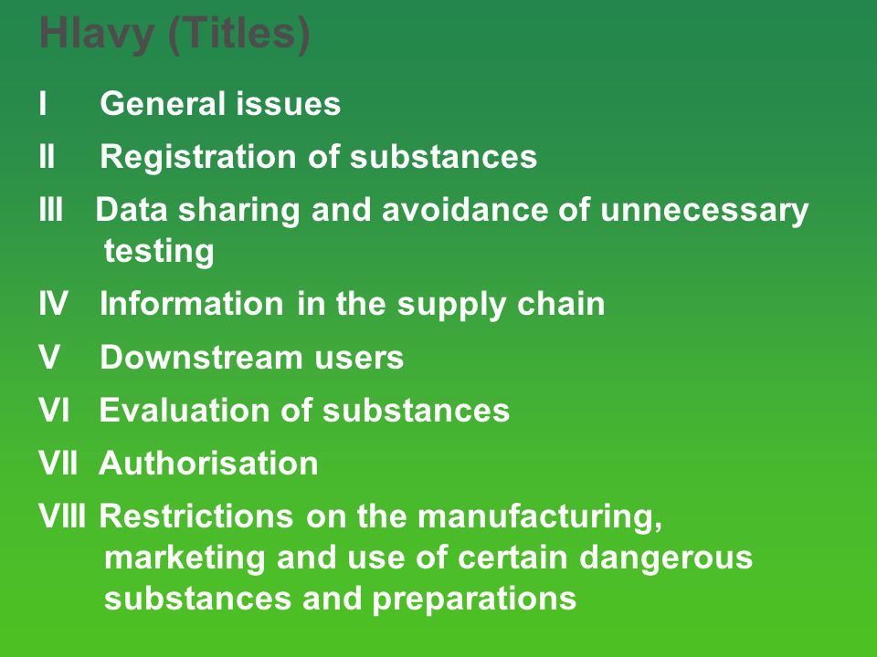 Hlavy (Titles) I General issues II Registration of substances III Data sharing and avoidance of unnecessary testing IV Information in the supply chain