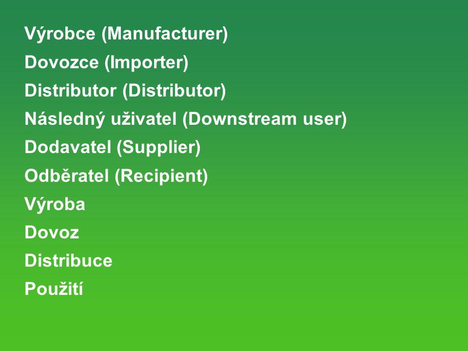 Výrobce (Manufacturer) Dovozce (Importer) Distributor (Distributor) Následný uživatel (Downstream user) Dodavatel (Supplier) Odběratel (Recipient) Výroba Dovoz Distribuce Použití