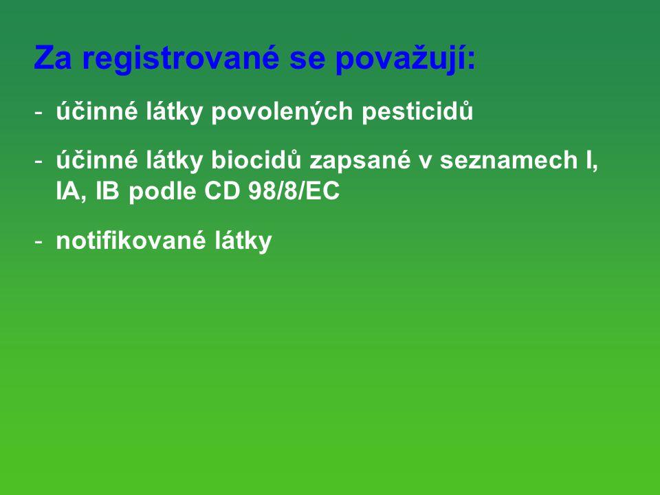 Za registrované se považují: -účinné látky povolených pesticidů -účinné látky biocidů zapsané v seznamech I, IA, IB podle CD 98/8/EC -notifikované látky