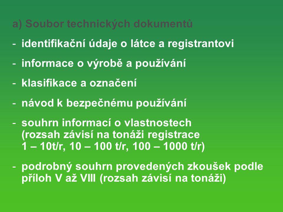 a) Soubor technických dokumentů -identifikační údaje o látce a registrantovi -informace o výrobě a používání -klasifikace a označení -návod k bezpečnému používání -souhrn informací o vlastnostech (rozsah závisí na tonáži registrace 1 – 10t/r, 10 – 100 t/r, 100 – 1000 t/r) -podrobný souhrn provedených zkoušek podle příloh V až VIII (rozsah závisí na tonáži)