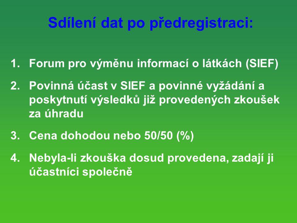 Sdílení dat po předregistraci: 1.Forum pro výměnu informací o látkách (SIEF) 2.Povinná účast v SIEF a povinné vyžádání a poskytnutí výsledků již provedených zkoušek za úhradu 3.Cena dohodou nebo 50/50 (%) 4.Nebyla-li zkouška dosud provedena, zadají ji účastníci společně