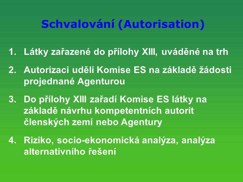 Schvalování (Autorisation) 1.Látky zařazené do přílohy XIII, uváděné na trh 2.Autorizaci udělí Komise ES na základě žádosti projednané Agenturou 3.Do přílohy XIII zařadí Komise ES látky na základě návrhu kompetentních autorit členských zemí nebo Agentury 4.Riziko, socio-ekonomická analýza, analýza alternativního řešení
