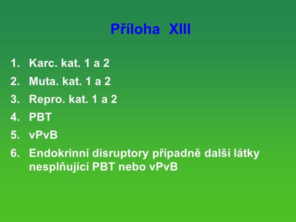 Příloha XIII 1.Karc.kat. 1 a 2 2.Muta. kat. 1 a 2 3.Repro.