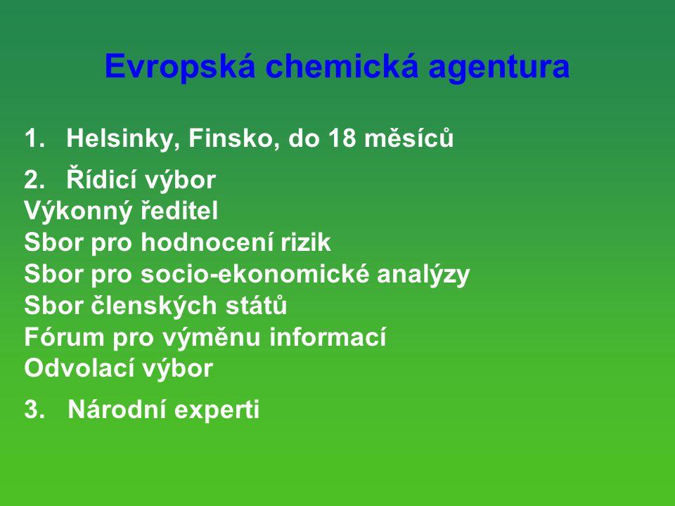 Evropská chemická agentura 1.Helsinky, Finsko, do 18 měsíců 2.Řídicí výbor Výkonný ředitel Sbor pro hodnocení rizik Sbor pro socio-ekonomické analýzy Sbor členských států Fórum pro výměnu informací Odvolací výbor 3.