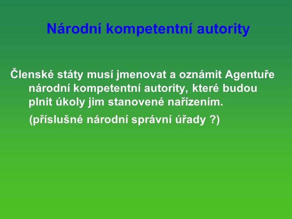 Národní kompetentní autority Členské státy musí jmenovat a oznámit Agentuře národní kompetentní autority, které budou plnit úkoly jim stanovené nařízením.