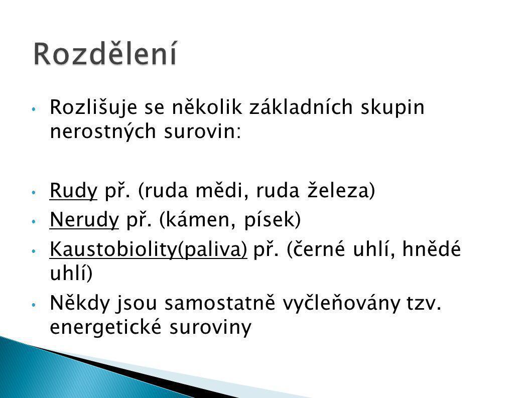 Rozlišuje se několik základních skupin nerostných surovin: Rudy př. (ruda mědi, ruda železa) Nerudy př. (kámen, písek) Kaustobiolity(paliva) př. (čern