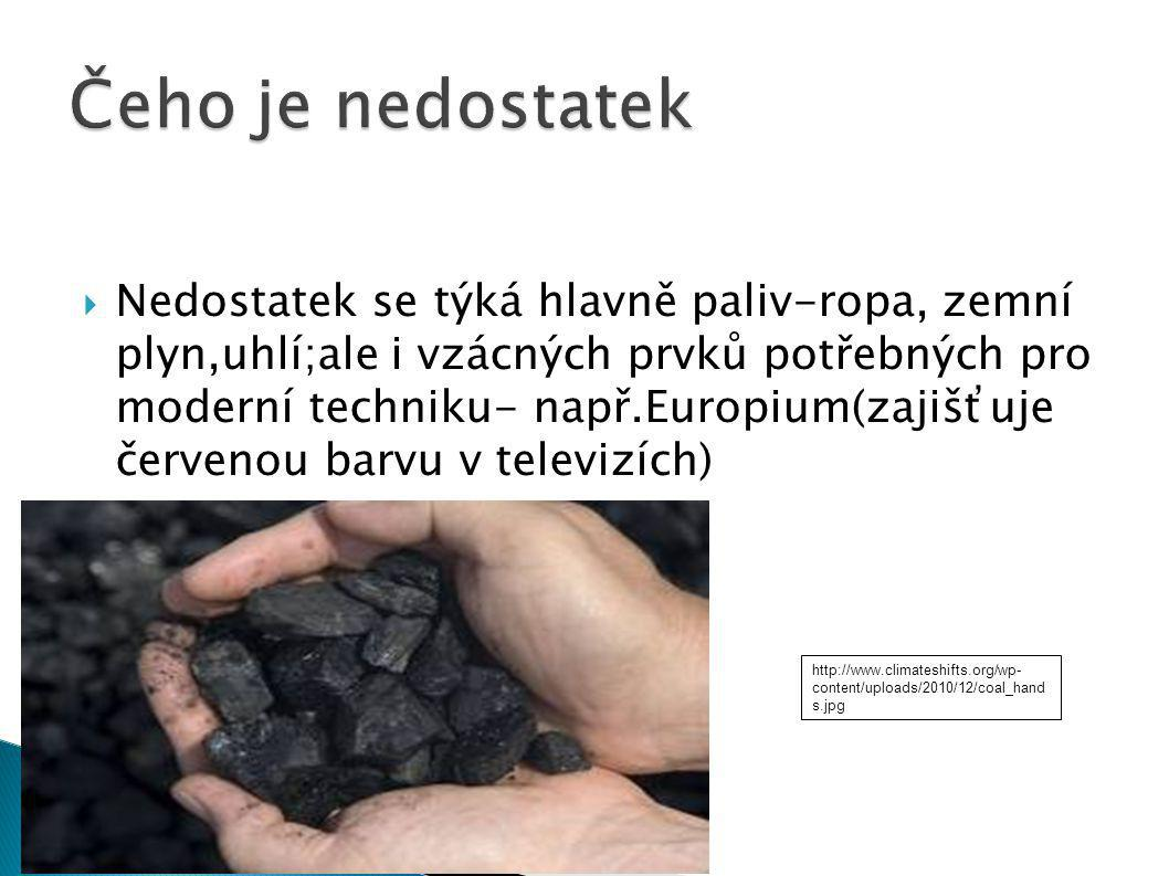  Nedostatek se týká hlavně paliv-ropa, zemní plyn,uhlí;ale i vzácných prvků potřebných pro moderní techniku- např.Europium(zajišťuje červenou barvu v