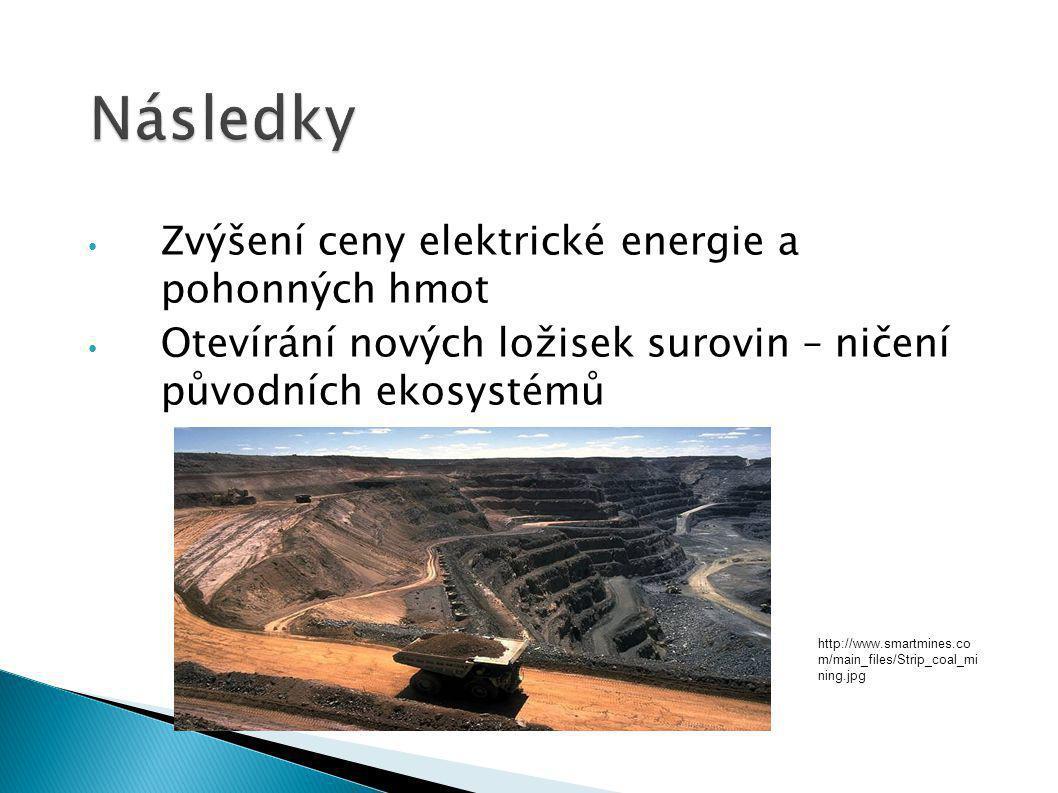 Zvýšení ceny elektrické energie a pohonných hmot Otevírání nových ložisek surovin – ničení původních ekosystémů http://www.smartmines.co m/main_files/