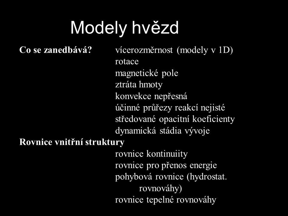 Co se zanedbává? vícerozměrnost (modely v 1D) rotace magnetické pole ztráta hmoty konvekce nepřesná účinné průřezy reakcí nejisté středované opacitní