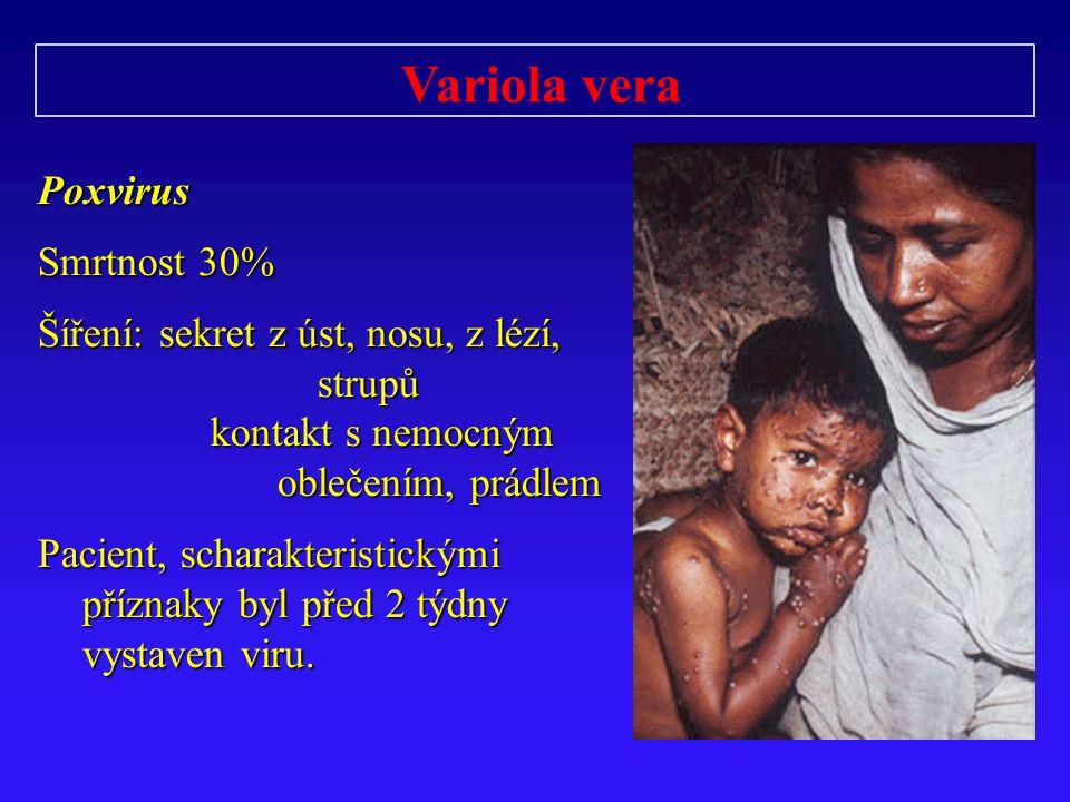 Variola veraPoxvirus Smrtnost 30% Šíření: sekret z úst, nosu, z lézí, strupů kontakt s nemocným kontakt s nemocným oblečením, prádlem oblečením, prádlem Pacient, scharakteristickými příznaky byl před 2 týdny vystaven viru.