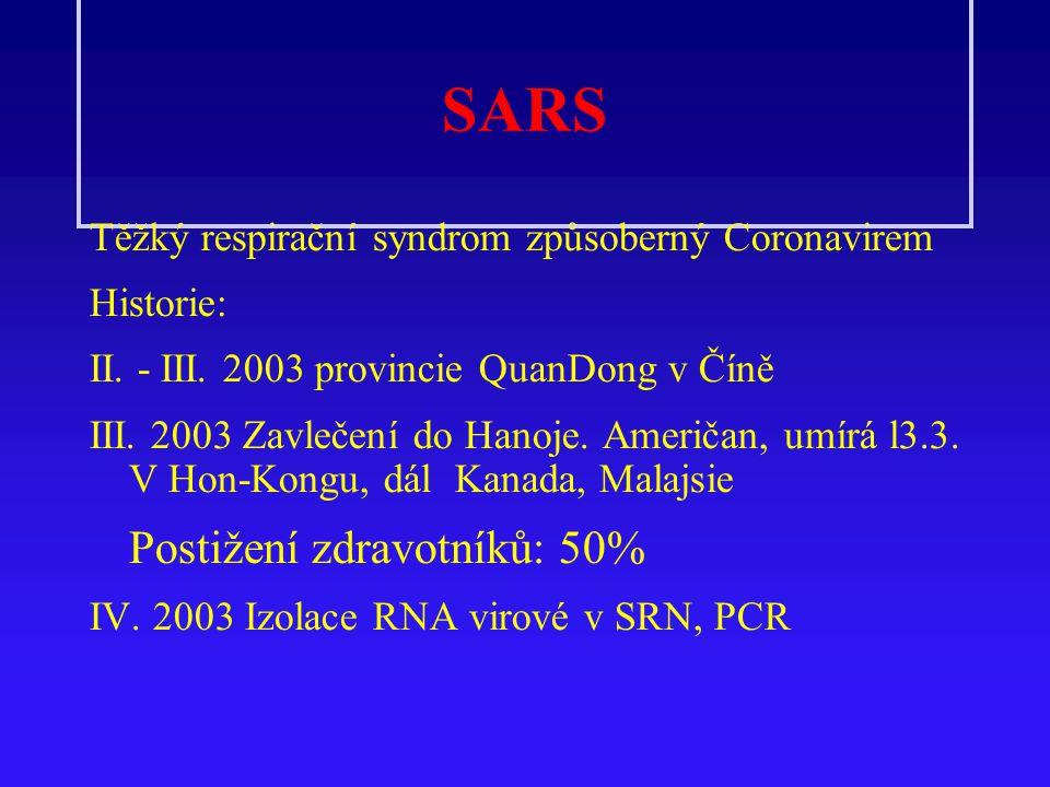 SARS Těžký respirační syndrom způsoberný Coronavirem Historie: II. - III. 2003 provincie QuanDong v Číně III. 2003 Zavlečení do Hanoje. Američan, umír