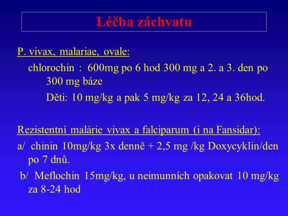 Léčba záchvatu P. vivax, malariae, ovale: chlorochin : 600mg po 6 hod 300 mg a 2. a 3. den po 300 mg báze Děti: 10 mg/kg a pak 5 mg/kg za 12, 24 a 36h