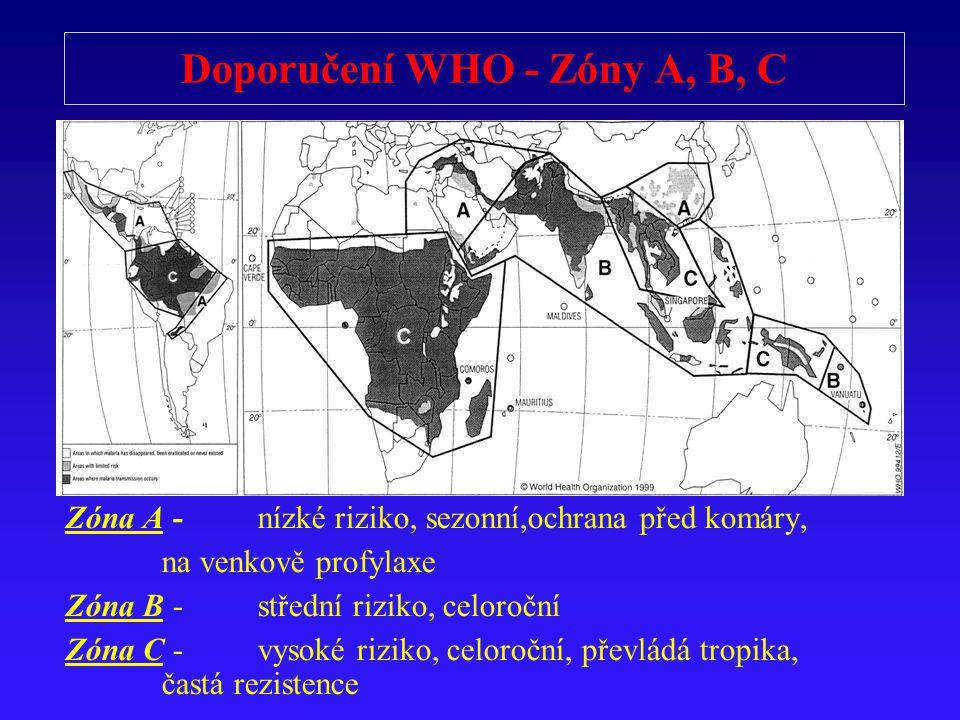 Doporučení WHO - Zóny A, B, C Zóna A - nízké riziko, sezonní,ochrana p ř ed komáry, na venkov ě profylaxe Zóna B - st ř ední riziko, celoro č ní Zóna C - vysoké riziko, celoro č ní, p ř evládá tropika, častá rezistence