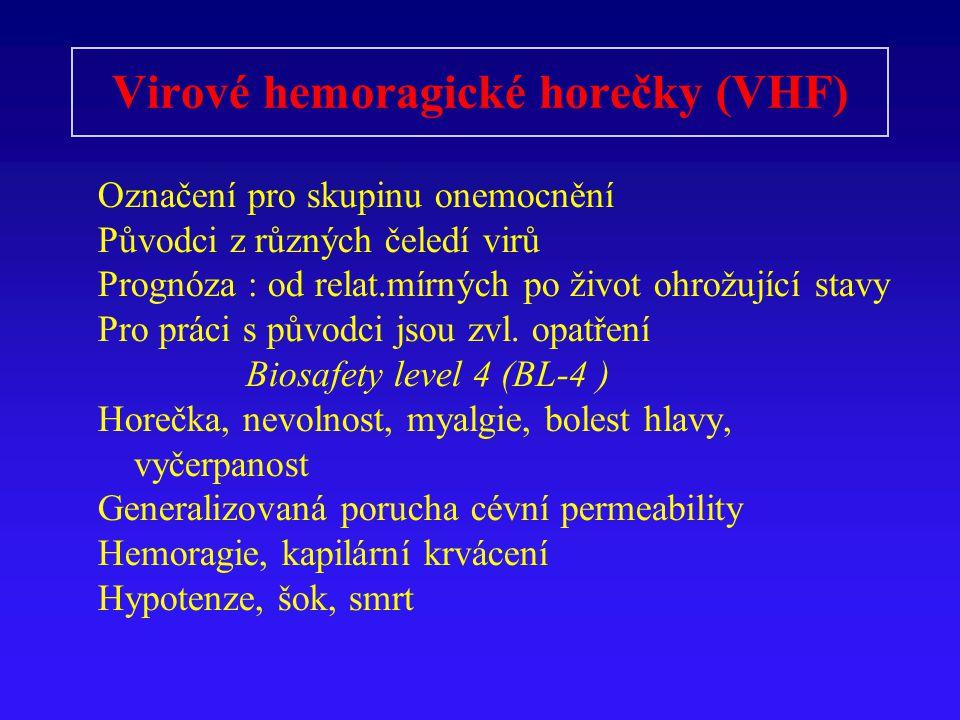 Virové hemoragické horečky (VHF) Označení pro skupinu onemocnění Původci z různých čeledí virů Prognóza : od relat.mírných po život ohrožující stavy Pro práci s původci jsou zvl.