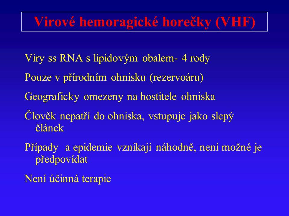 Virové hemoragické horečky (VHF) Viry ss RNA s lipidovým obalem- 4 rody Pouze v přírodním ohnisku (rezervoáru) Geograficky omezeny na hostitele ohniska Člověk nepatří do ohniska, vstupuje jako slepý článek Případy a epidemie vznikají náhodně, není možné je předpovídat Není účinná terapie