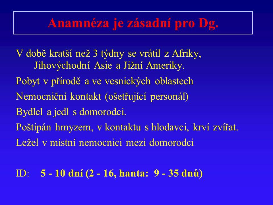 Anamnéza je zásadní pro Dg. V době kratší než 3 týdny se vrátil z Afriky, Jihovýchodní Asie a Jižní Ameriky. Pobyt v přírodě a ve vesnických oblastech