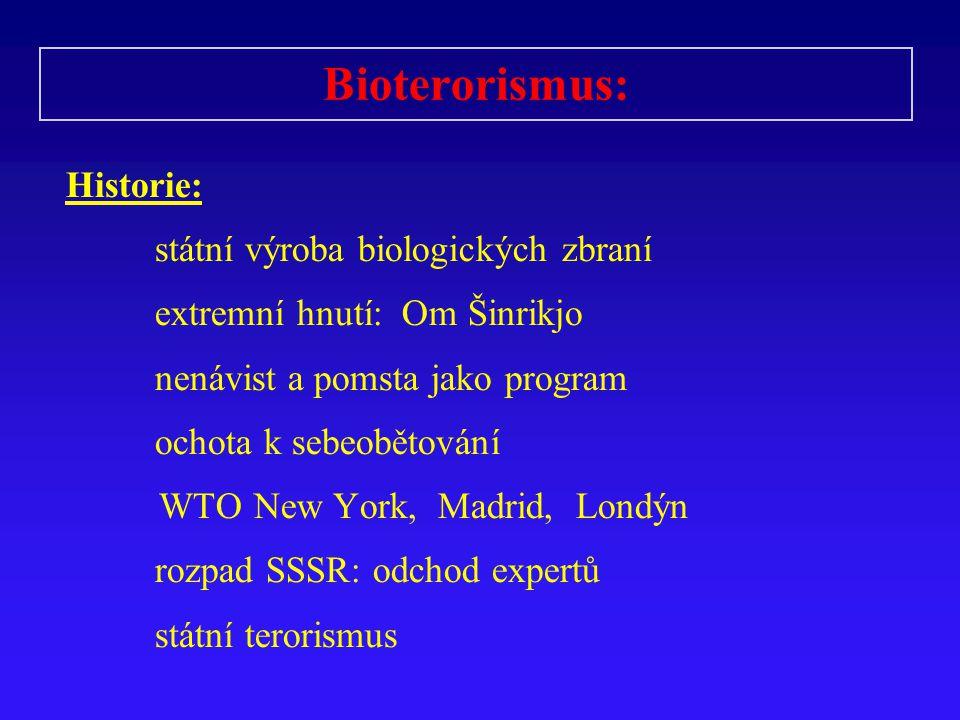 Bioterorismus: Historie: státní výroba biologických zbraní extremní hnutí: Om Šinrikjo nenávist a pomsta jako program ochota k sebeobětování WTO New Y