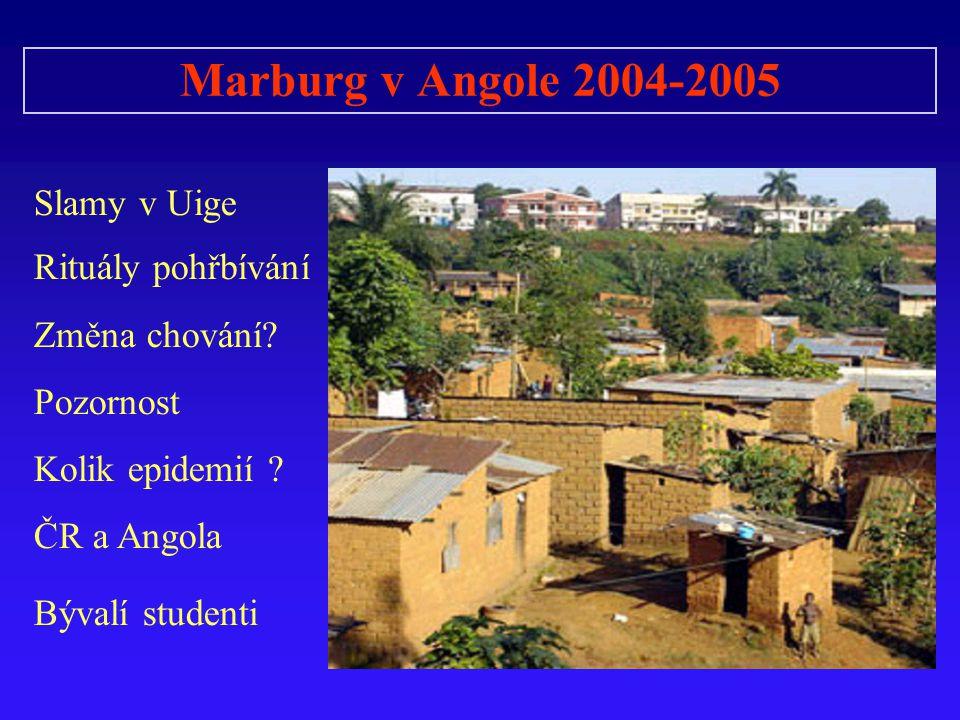 Marburg v Angole 2004-2005 Slamy v Uige Rituály pohřbívání Změna chování? Pozornost Kolik epidemií ? ČR a Angola Bývalí studenti