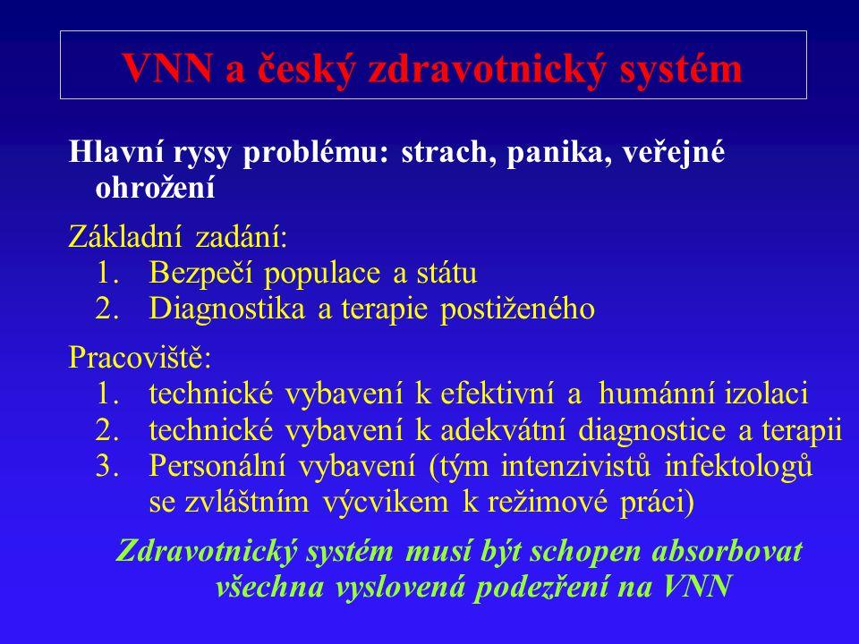 VNN a český zdravotnický systém Hlavní rysy problému: strach, panika, veřejné ohrožení Základní zadání: 1.Bezpečí populace a státu 2.Diagnostika a ter