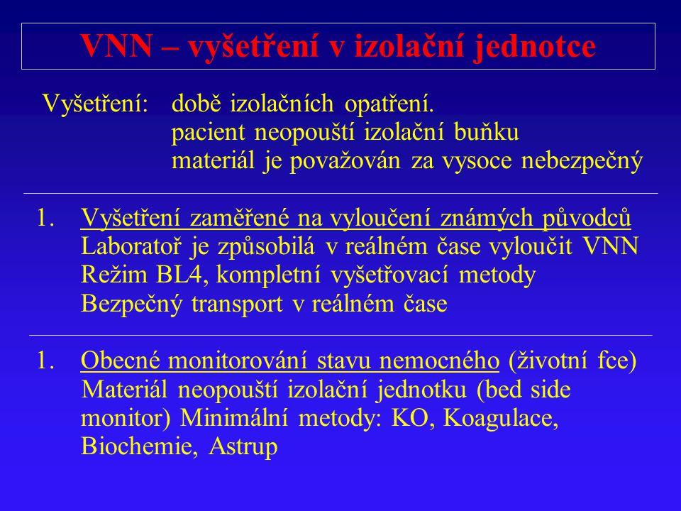 VNN – vyšetření v izolační jednotce Vyšetření: době izolačních opatření. pacient neopouští izolační buňku materiál je považován za vysoce nebezpečný 1