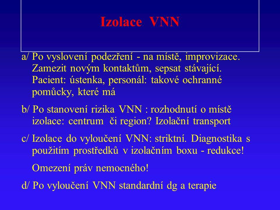 Izolace VNN a/Po vyslovení podezření - na místě, improvizace.
