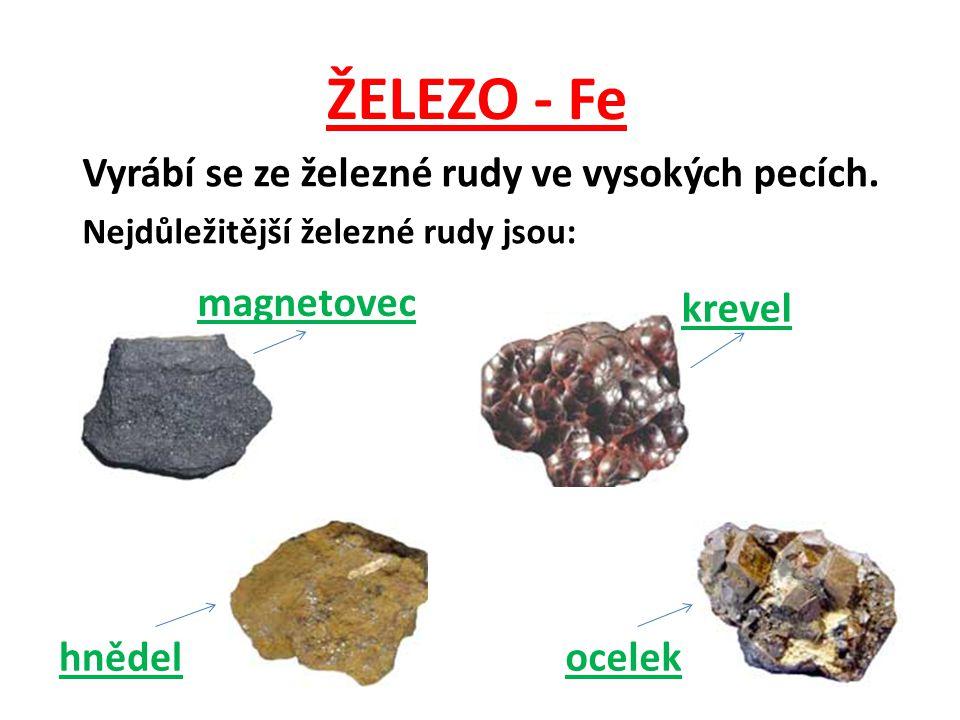 ŽELEZO - Fe Vyrábí se ze železné rudy ve vysokých pecích. Nejdůležitější železné rudy jsou: magnetovec krevel hnědelocelek