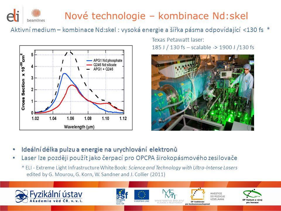 Nové technologie – kombinace Nd:skel Aktivní medium – kombinace Nd:skel : vysoká energie a šířka pásma odpovídající <130 fs * * ELI - Extreme Light In