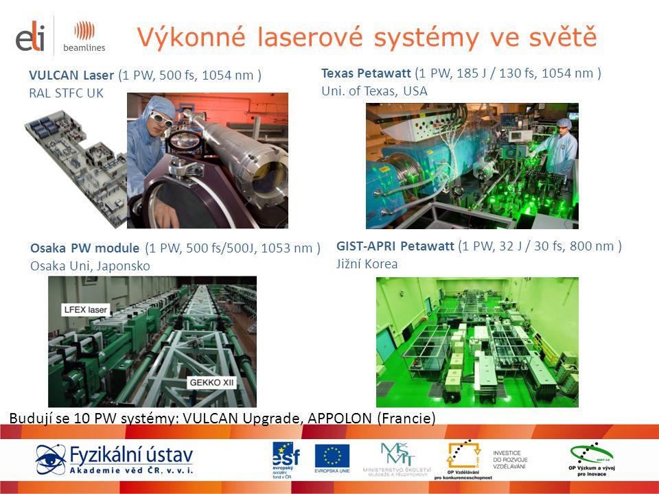 Výkonné laserové systémy ve světě VULCAN Laser (1 PW, 500 fs, 1054 nm ) RAL STFC UK Osaka PW module (1 PW, 500 fs/500J, 1053 nm ) Osaka Uni, Japonsko