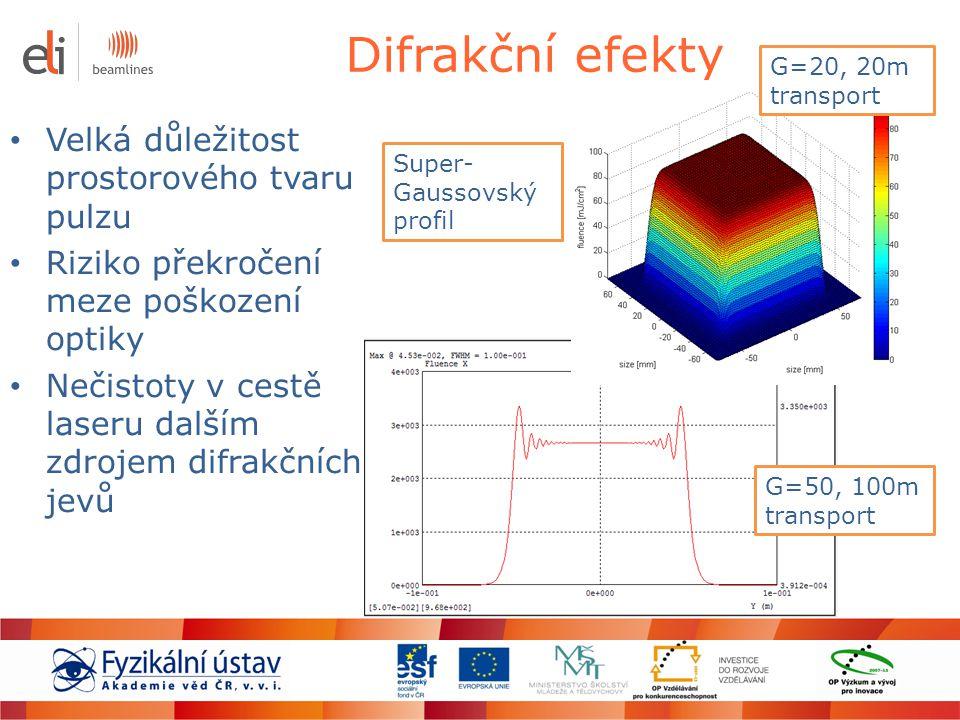 Difrakční efekty Velká důležitost prostorového tvaru pulzu Riziko překročení meze poškození optiky Nečistoty v cestě laseru dalším zdrojem difrakčních
