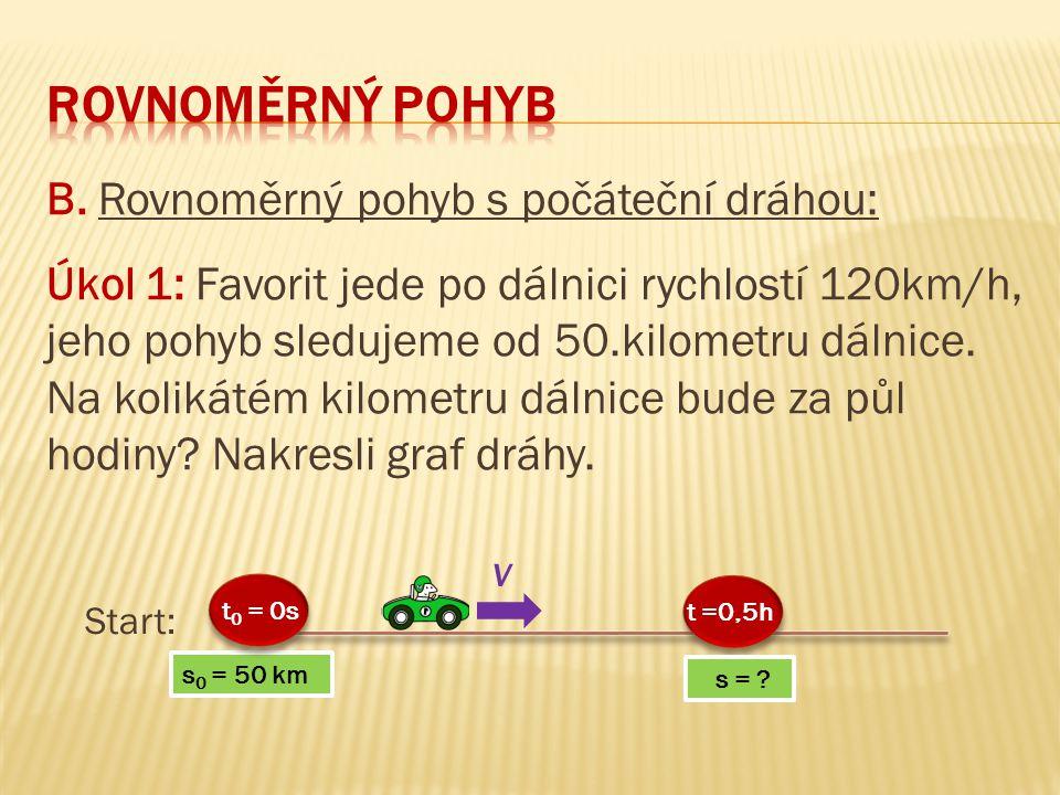 B. Rovnoměrný pohyb s počáteční dráhou: Úkol 1: Favorit jede po dálnici rychlostí 120km/h, jeho pohyb sledujeme od 50.kilometru dálnice. Na kolikátém