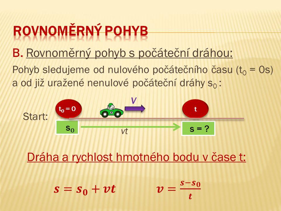 B. Rovnoměrný pohyb s počáteční dráhou: Pohyb sledujeme od nulového počátečního času (t 0 = 0s) a od již uražené nenulové počáteční dráhy s 0 : v Star