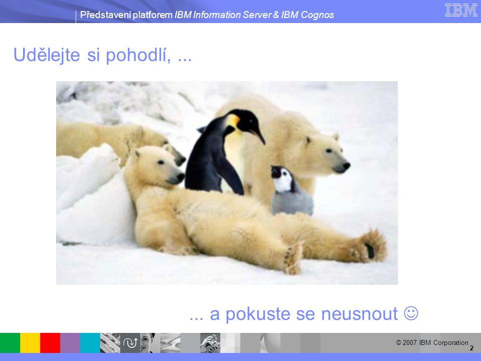 Představení platforem IBM Information Server & IBM Cognos © 2007 IBM Corporation 2 Udělejte si pohodlí,......