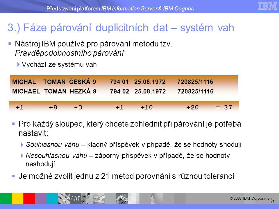 Představení platforem IBM Information Server & IBM Cognos © 2007 IBM Corporation 21 3.) Fáze párování duplicitních dat – systém vah  Nástroj IBM používá pro párování metodu tzv.
