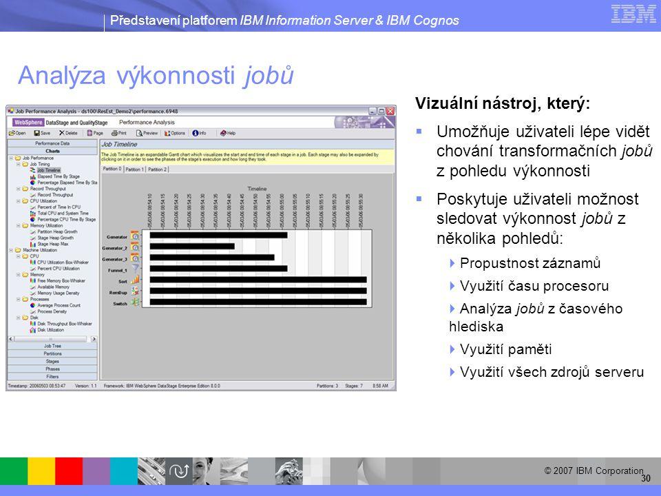 Představení platforem IBM Information Server & IBM Cognos © 2007 IBM Corporation 30 Analýza výkonnosti jobů Vizuální nástroj, který:  Umožňuje uživateli lépe vidět chování transformačních jobů z pohledu výkonnosti  Poskytuje uživateli možnost sledovat výkonnost jobů z několika pohledů:  Propustnost záznamů  Využití času procesoru  Analýza jobů z časového hlediska  Využití paměti  Využití všech zdrojů serveru