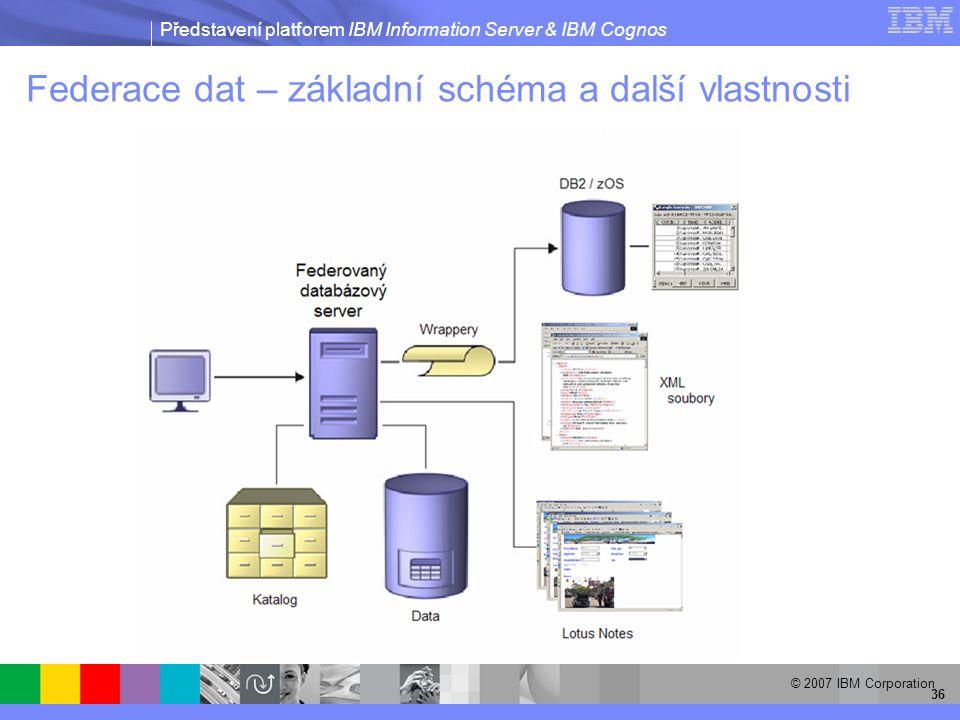 Představení platforem IBM Information Server & IBM Cognos © 2007 IBM Corporation 36 Federace dat – základní schéma a další vlastnosti