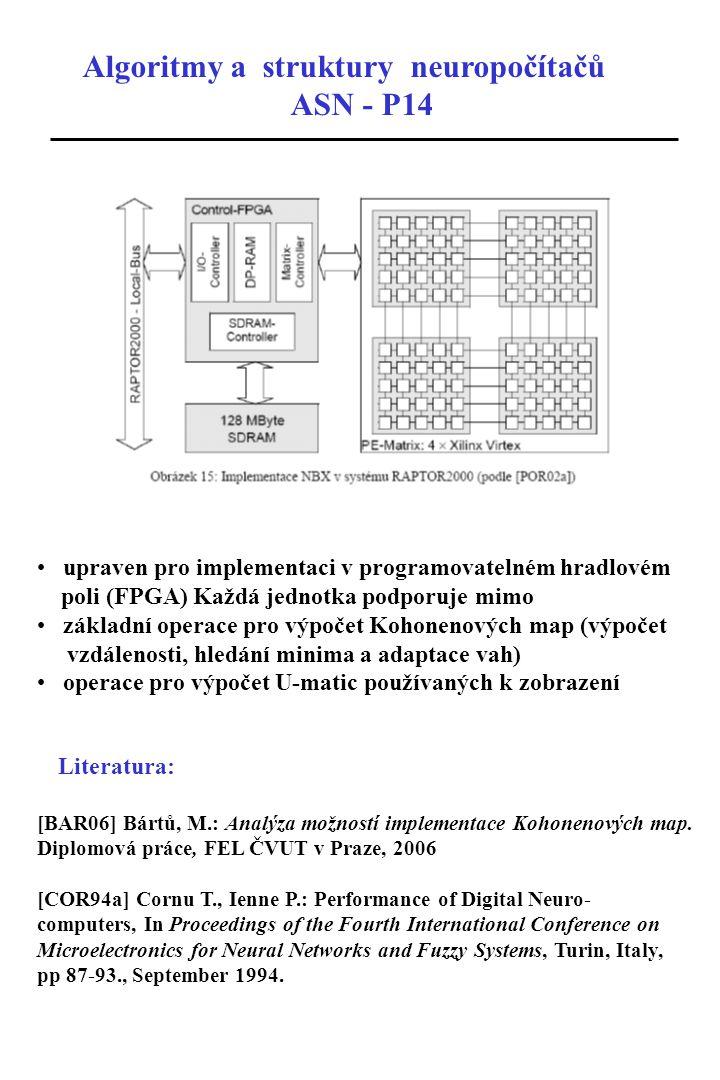 Algoritmy a struktury neuropočítačů ASN - P14 upraven pro implementaci v programovatelném hradlovém poli (FPGA) Každá jednotka podporuje mimo základní