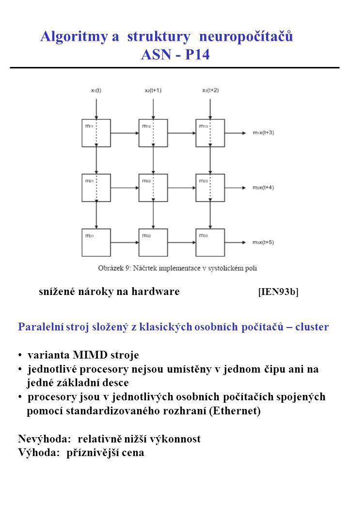 Algoritmy a struktury neuropočítačů ASN - P14 snížené nároky na hardware [IEN93b] Paralelní stroj složený z klasických osobních počítačů – cluster var