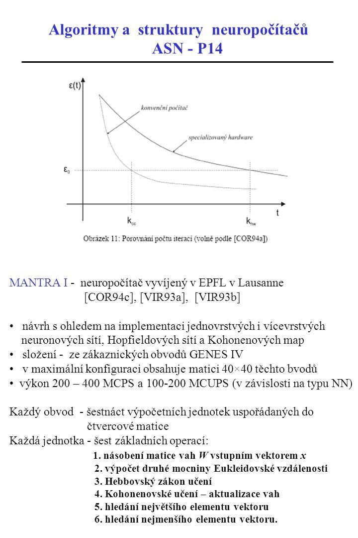 Algoritmy a struktury neuropočítačů ASN - P14 MANTRA I - neuropočítač vyvíjený v EPFL v Lausanne [COR94c], [VIR93a], [VIR93b] návrh s ohledem na imple